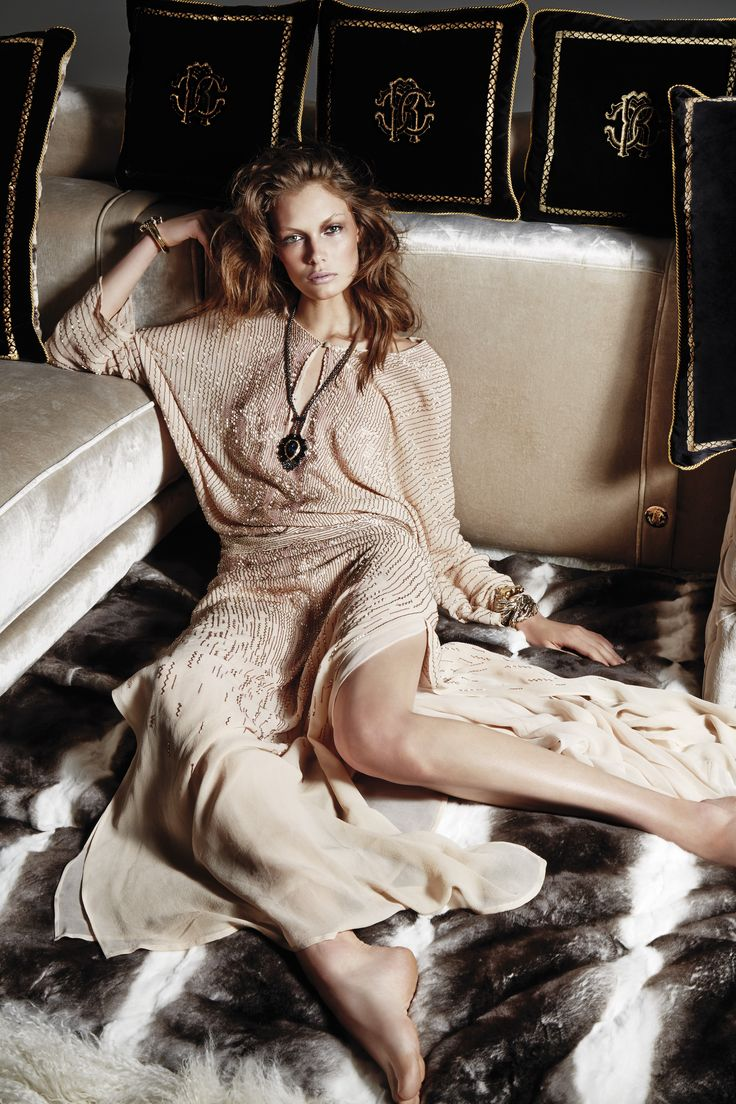 Ease & Chic - Like a romantic diva the #RobertoCavalliFW14 woman charms in pastel shades and precious embroideries.