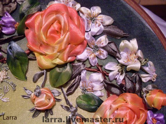"""Купить """"Розовый венок"""" - Вышивка лентами, ручная работа, картина в подарок, цветы, картина, шелк"""