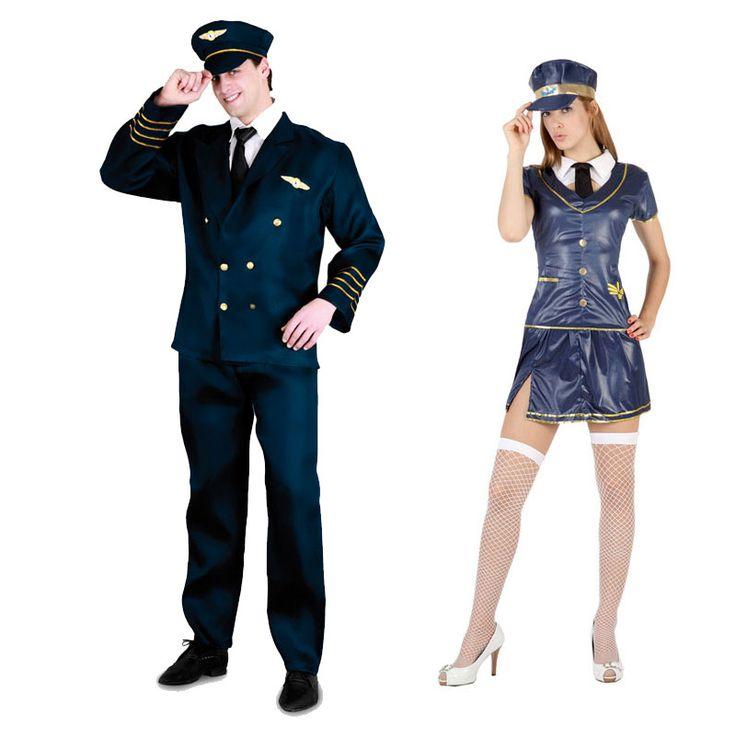 Pareja Disfraces de Piloto-Azafata #parejas #disfraces #carnaval