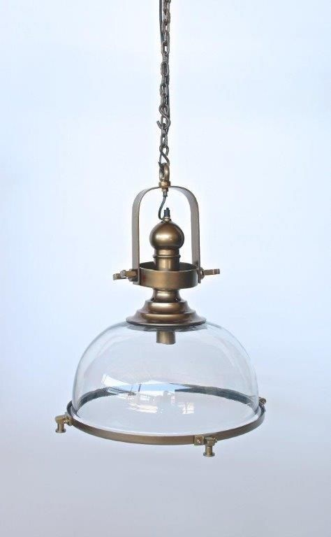 Brass and glass light.  Suitable for eat in kitchens or wherever