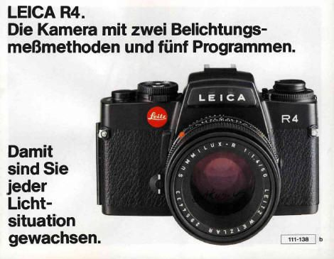Leica R4 instruction manual, Leica R4s, Leica R4 MOD P instruction manual, Leica R4 de camera met twee lichtmeetmethodes en vijf programma's, user manual, Leica R4 accessories, free PDF camera manuals