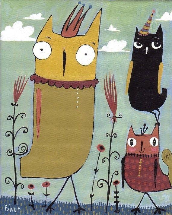 Unique OWL Art Print . Eames Era, Atomic, Modern 8x10