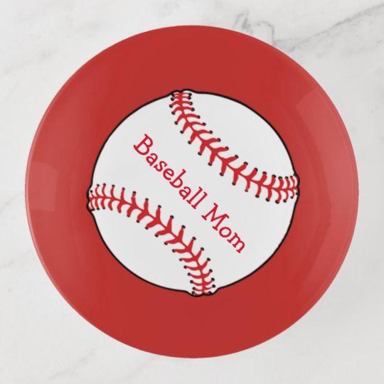Baseball Mom Sports Red Trinket Tray