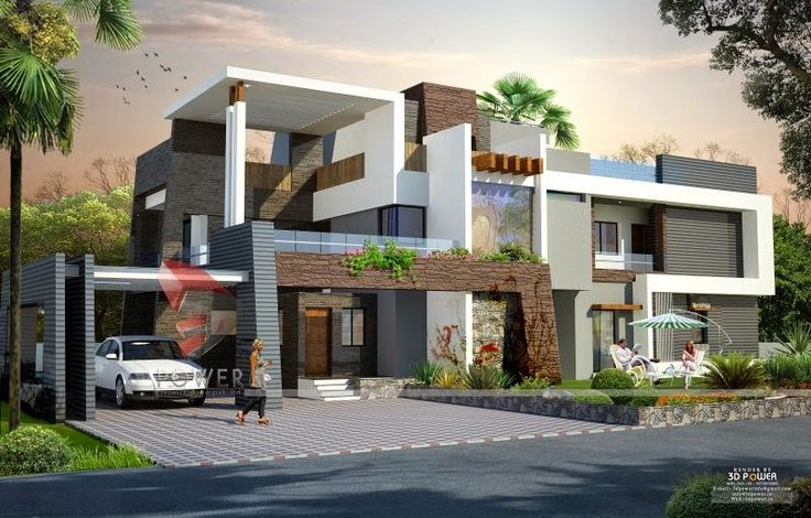 We are expert in designing 3d ultra modern home designs for Bungalow exterior design