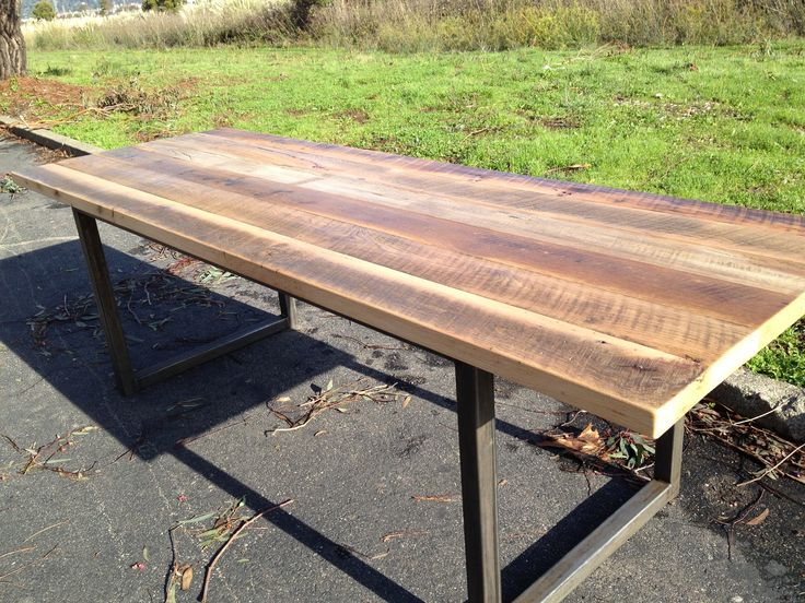 Iron And Wood Patio Furniture metal base | community table | metal tables bases | pinterest