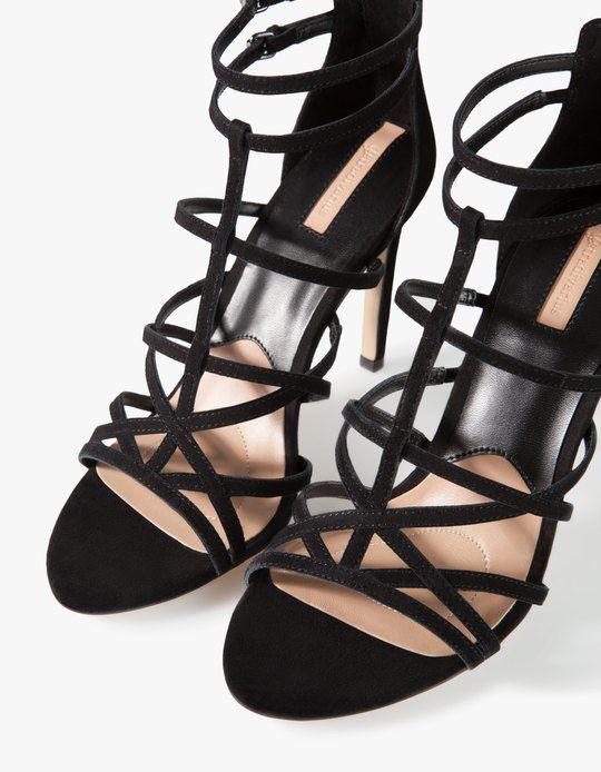 Leather strap sandals - HEELED SANDALS - Stradivarius Ukraine