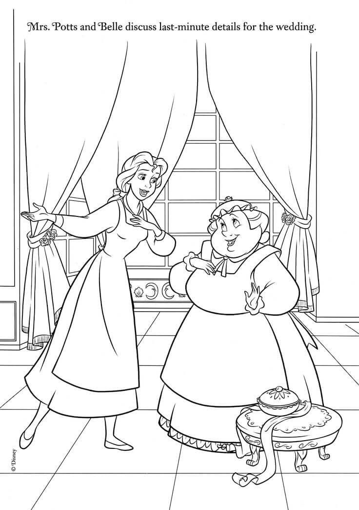 Belle And Mrs Potts Coloring Page Paginas Para Colorir Da Disney Paginas Para Colorir Cores Disney
