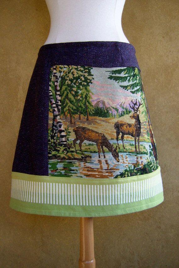 Twee Herten borduurwerk rok A-lijn rok in paarse wol door LUREaLURE