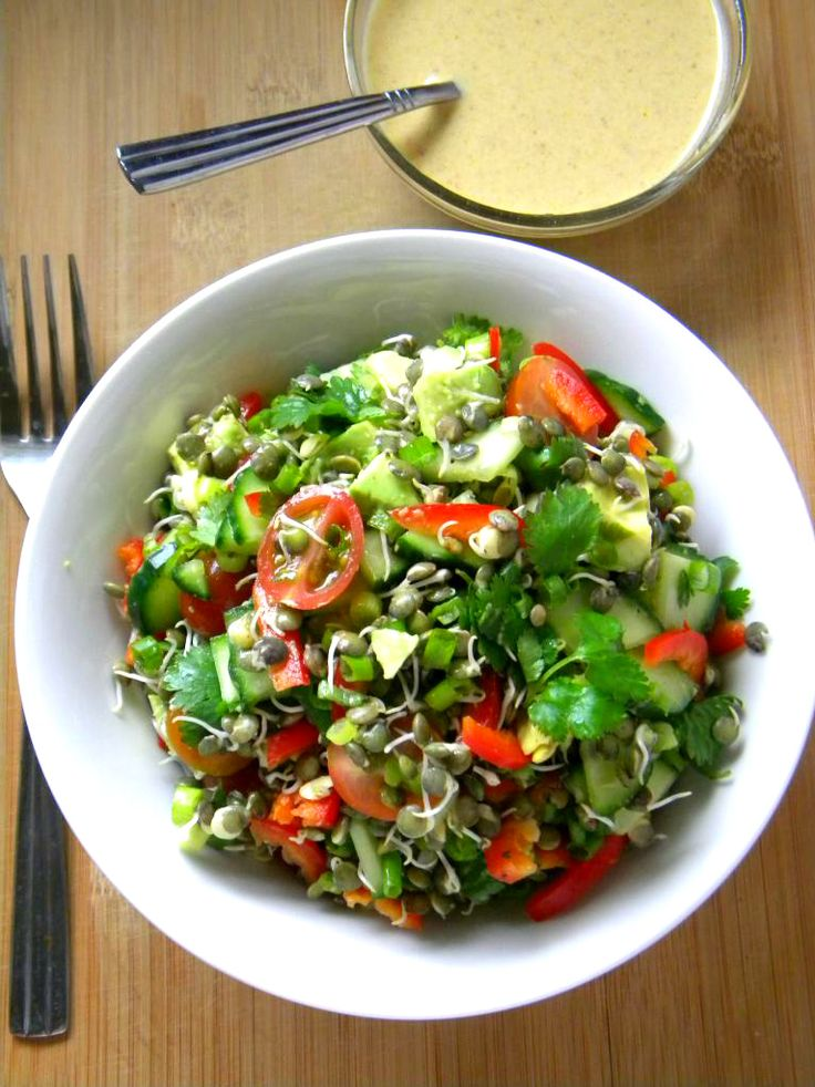 Warm or Cold Lentil Salad w/ Creamy Curry Sweet Chili Dressing by