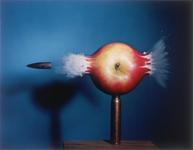 Bullet through the Apple, 1964 MIT professor Harold Edgerton invented the strobe flash in the 1930s and this is an example of his stroboscopic photography