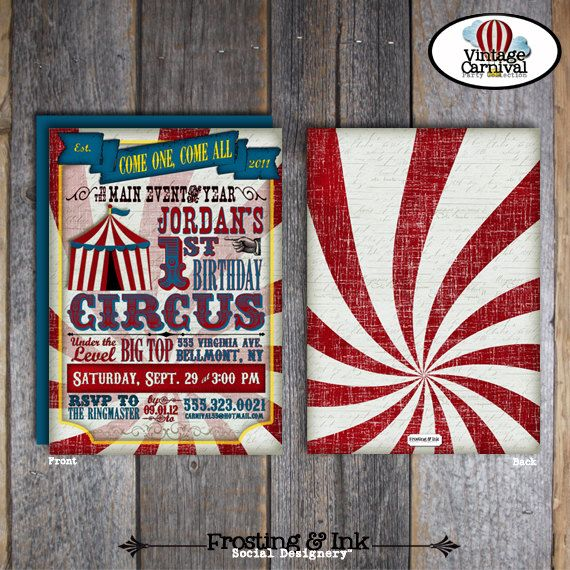Circus Party - Carnival Party - Invitation & Wrap Around Address Labels - Customized Printable (Vintage, Big Top, Circus Poster, Birthday)