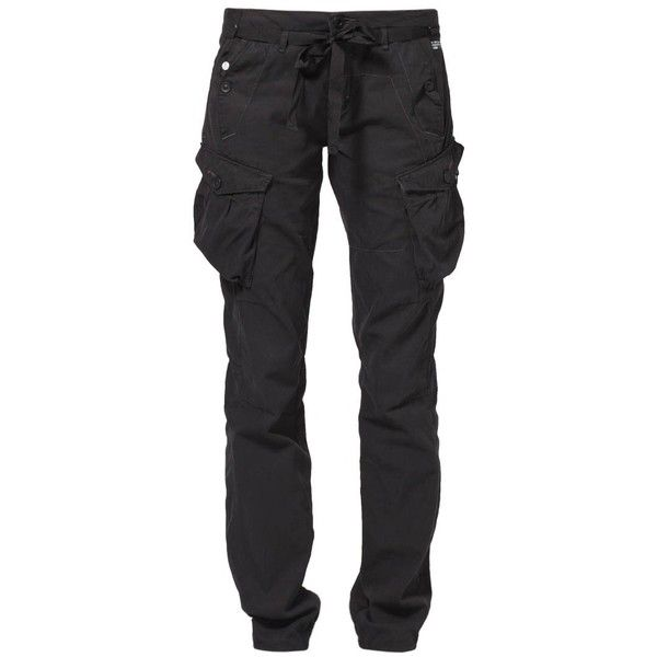 GStar SOLAR ROVER Cargo trousers ($125) ❤ liked on Polyvore featuring pants, bottoms, jeans, black, trousers, women's trousers, g star raw pants, cargo trousers, cotton cargo pants and cargo pants