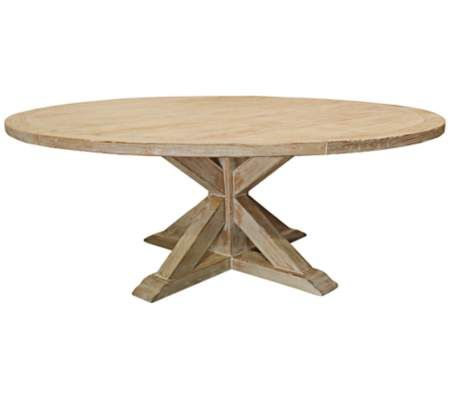 "Natural, large, round dining table. Distressed white finish. Made from 80-year old recycled Douglas fir hardwood. Natural materials sourced from northern California. Tongue and groove construction ensures durability. Pedestal style base. Simple and versatile style. Made in the U.S.A. Fully assembled. 72"" wide. 30"" high. 72"" deep."