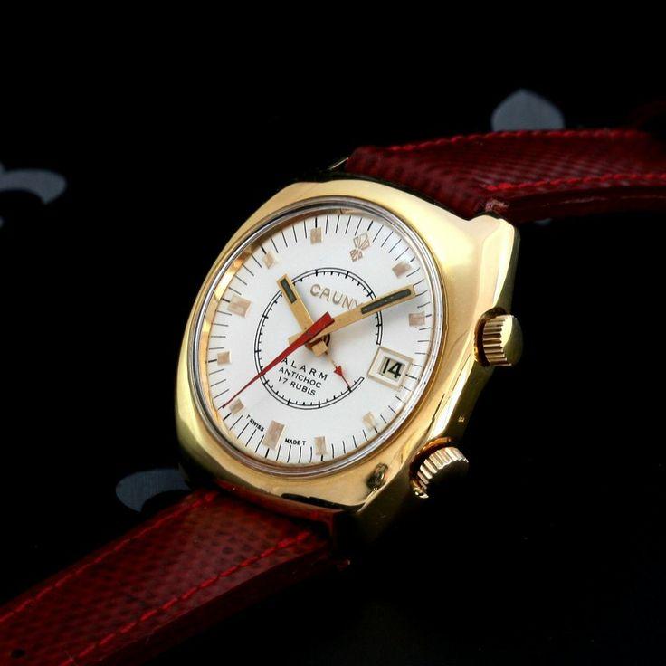 Classy & Large 60's CAUNY Prima Swiss Vintage Alarm Dress Watch 17j AS Cal. 1475