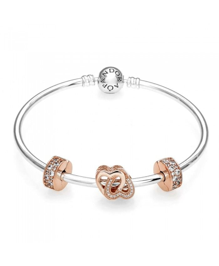 Rose Entwined Love Gift Bangle Pandora Charms Bracelet Sale Pandora Bracelets