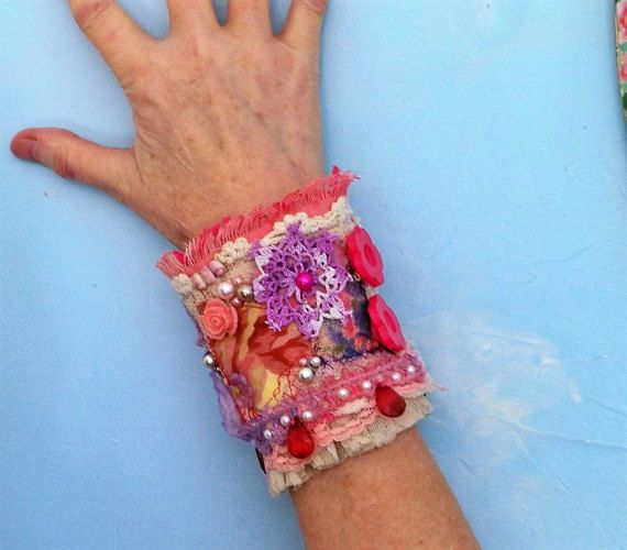 Boho bracelet cuff fabric bracelet textile by CalCoastCreations