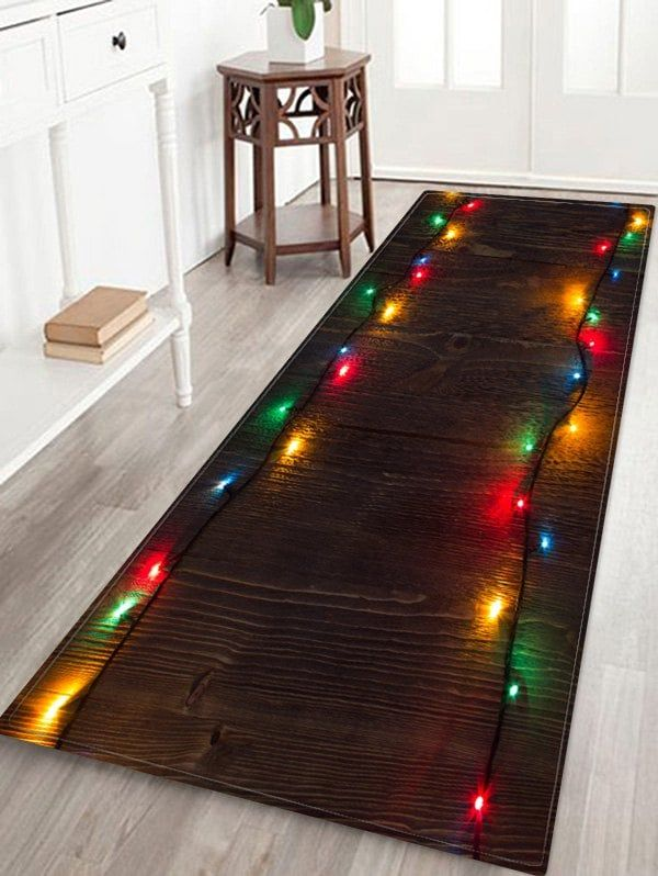 Christmas Carpet Runner.Wooden Christmas Light Printed Decorative Floor Mat