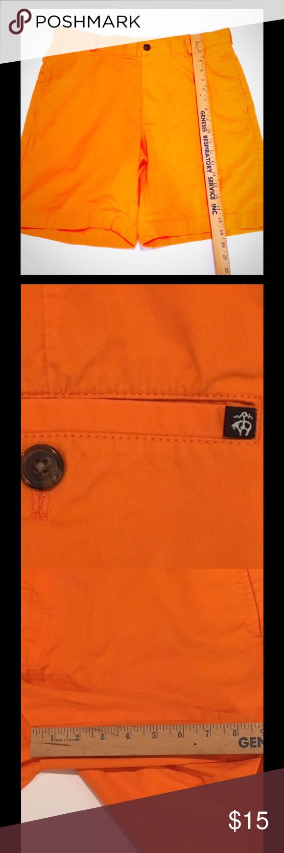 Men's Brooks Brothers Chino Shorts These are vibrant and beautiful men's chino shorts from Brooks Brothers. In flawless condition, they contain the iconic Golden Fleece logo on the back right pocket. A bit darker than how the app makes them look. Very stylish and a great brand. Waist size 36. Don't miss out! Accepting offers! Thank you. Brooks Brothers Shorts Flat Front