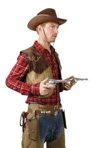 Trek je wapens uit je holster zoals echte cowboys dat doen.In bruin of zwart…