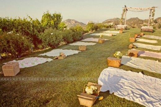Picnic wedding... Love this idea! frugal wedding Ideas #frugal #wedding