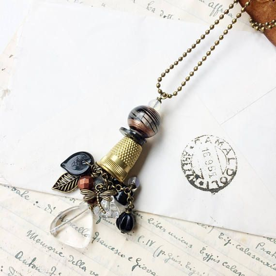 Thimble long pendant and charms. Re-fashion. Gift for crafter.