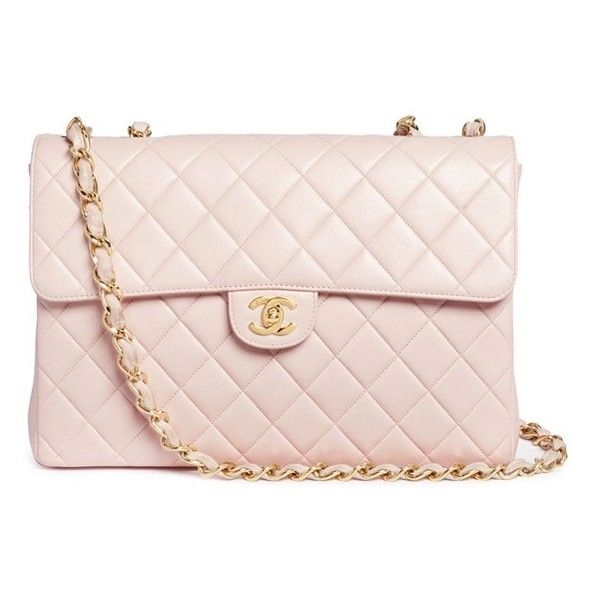 Vintage Chanel Jumbo 2.55 quilted leather flap bag ($6,015) ❤ liked on Polyvore featuring bags, handbags, pink, pink purse, shoulder strap bags, quilted flap bag, shoulder strap handbags and quilted purses