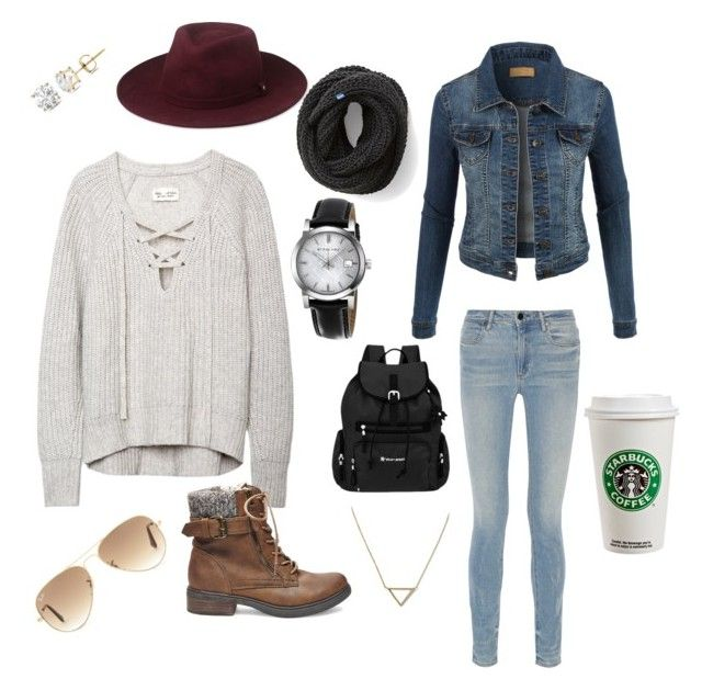 """""""Starbucks w/ Friends"""" by siddle1230 on Polyvore featuring Alexander Wang, Steve Madden, LE3NO, Whistles, Banana Republic, Keds, Sherpani, Auriya, Ray-Ban and Burberry"""