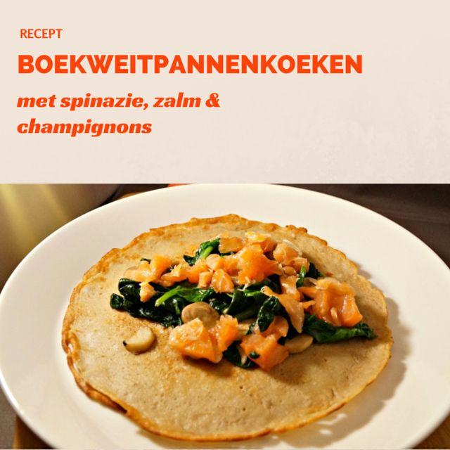 Recept: Boekweitpannenkoeken met spinazie, zalm en champignons