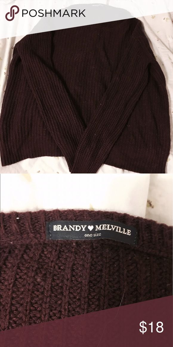 Maroon Brandy Melville Sweater Maroon Brandy Melville Sweater, baggy and cozy! Gently used, no rips/tears/holes! OS. Brandy Melville Sweaters Crew & Scoop Necks