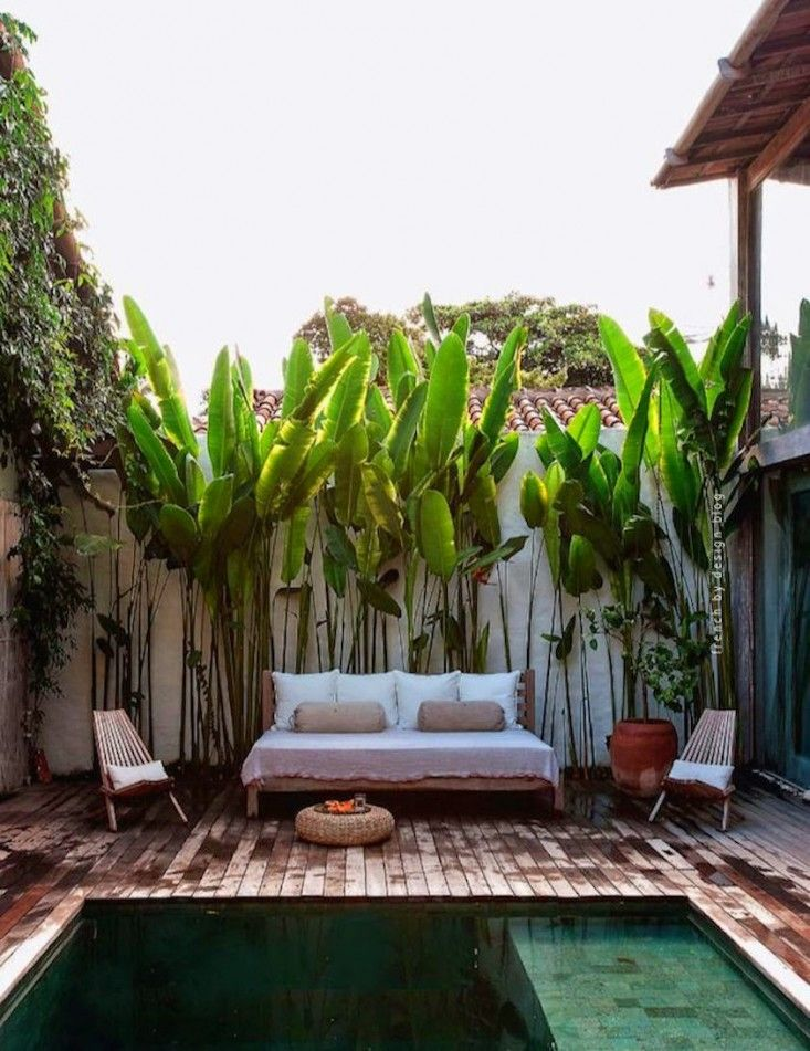 The outdoor pool and lounge area of Casa Lola in Trancoso, Brazil. - Outdoor plunge pools and spas | Gardenista