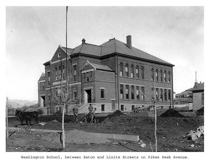 Colorado College Tutt Library - Century Chest  -- The Washington School between Eaton & Limite Streets on Ikes Peak Ave.   Colorado Springs, CO (c. 1900)