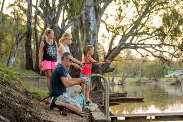 Families love to fish at BIG4 Deniliquin, on the banks of the Edward River.
