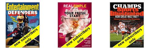 FREE One Year Magazine Subscription to Entertainment, Real Simple, or Sports Illustrated - http://www.swaggrabber.com/?p=317135