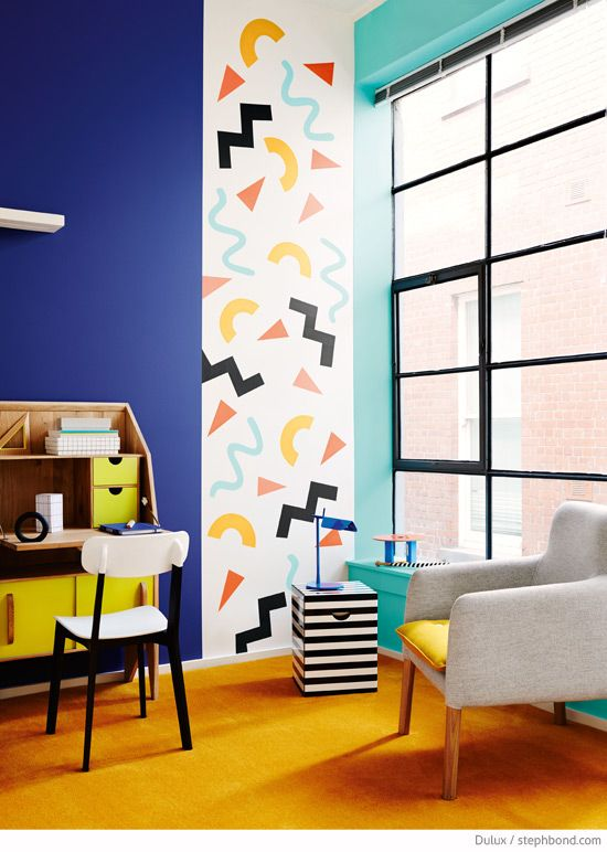 Bondville: Memphis style - the Eighties shape confetti interiors trend