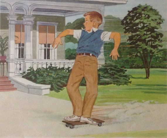 Boy on skateboard print Vintage 1960s book by accoladefive on Etsy