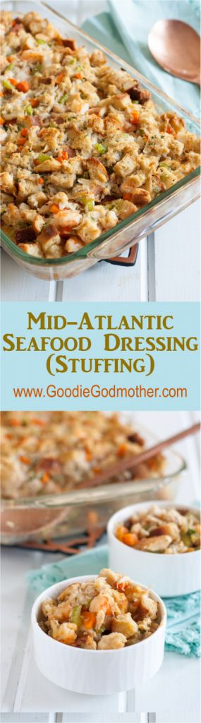 """Who says Thanksgiving dinner can't have a coastal touch? This flavorful seafood stuffing is loaded with crab and shrimp but pairs beautifully with turkey. A """"must save"""" for Thanksgiving! * Mid-Atlantic Seafood Stuffing (Dressing) recipe on GoodieGodmother.com"""