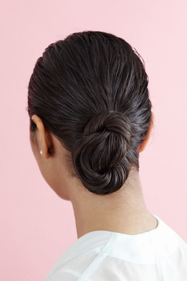 In a rush? Throw wet hair into a swooping bun.