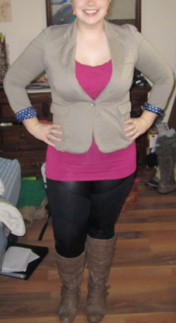 """Never be afraid to try something new! People always say """"Well I can't pull it off"""". Today I wore some leatherette leggings, was pretty nervous about it but ended up very happy with the look. If you dont like the outfit at least it is only one day of your life :) Tall boots - $ 35.00 (Suzy Shier), Leatherette leggings - $ 10.00 (Stitches), Pink top -  $ 10.00 (Smart Set), Blazer - $ 10.00, Earrings - $ 2.00 (Suzy Shier). Total Look: $67.00"""