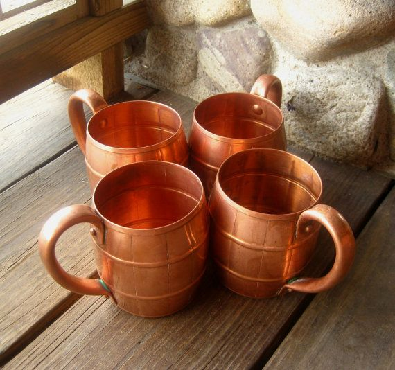West Bend Solid Copper Mugs Set of Four, $69 from riverhouseartpottery.com
