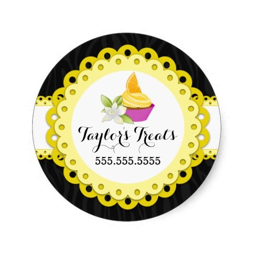 Cupcake bakery zebra yellow scallop design box seals customize this elegant sticker design with your