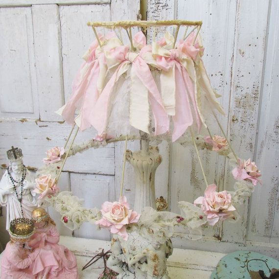 574 best lamps and lampshades images on pinterest chandeliers pink shabby cottage lamp shade embellished handmade paper and linen roses tattered ruffles and muslin bows aloadofball Gallery