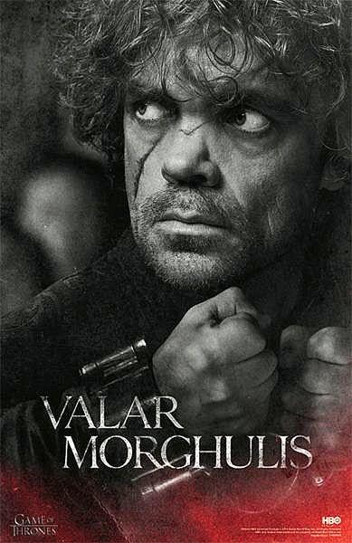 Póster Tyrion Lannister, Valar Morghulis. Juego de Tronos Decora tu habitación con este póster de Tyrion Lannister, basado en la cuarta temporada de la serie Juego de Tronos.
