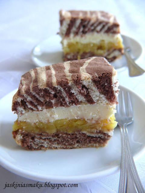 Jaskinia Smaku: Ciasto zebra z jabłkami i kremem waniliowym