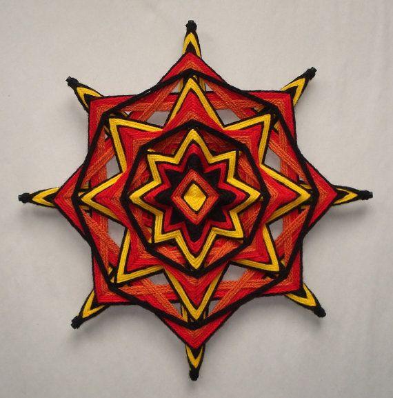 RedHot Chilies Ojo de Dios Yarn Mandala by HighDesertBohemian, $32.00