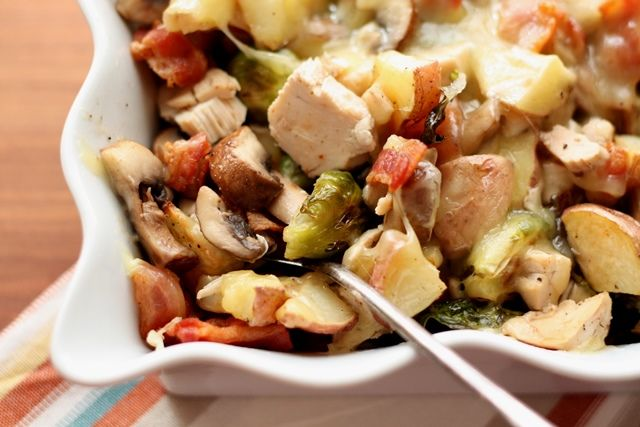 Roasted Potatoes with Brussels Sprouts, Mushrooms, Chicken and Bacon