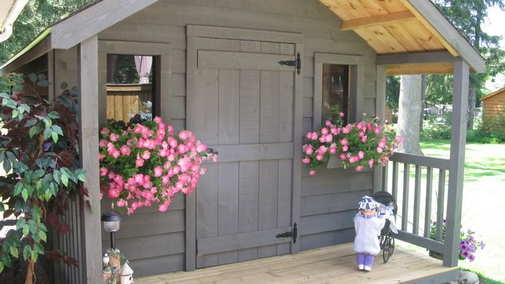 I know this is a bit much for a garden shed, but it would be so nice to have a place to immediately sit down and cool off after putting the lawn mower away!  And I know exactly where it would go, in the back corner just a little ways behind my pear tree.  Ahhh!