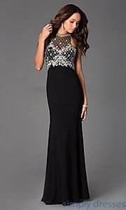 Buy Floor Length Sleeveless Dress with Illusion Bodice at SimplyDresses