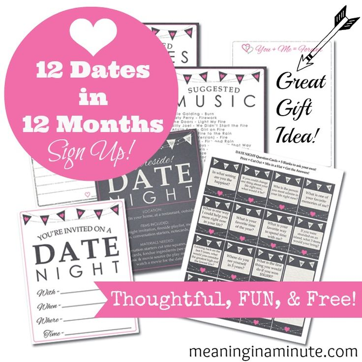 12 Dates in 12 Months.  Receive one date a month for a year -for free! Each month includes a date idea, conversation starters, an invitation, note, music playlist, and more! **This makes a great gift** meaninginaminute.com  #dateideas #love #valentines