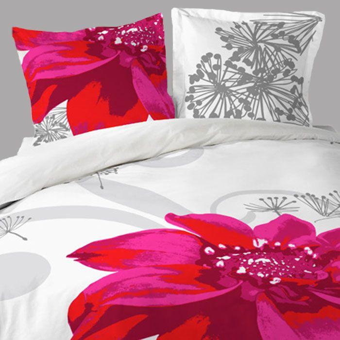 housse de couette 240x260 fleur white 2 taies d. Black Bedroom Furniture Sets. Home Design Ideas
