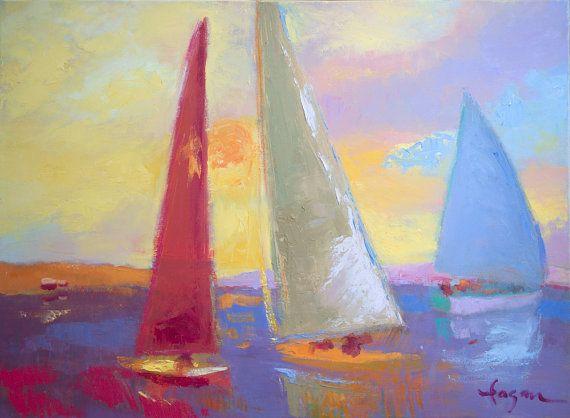 Colorful Sunset Sailboats Dorothy Fagan Art Sailing